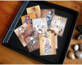 Set of 9 ACEO Limited Edition Archival Print, Fantasy and Surreal Artwork