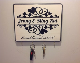 Personalized Wedding Gift for Couples Established Sign Plaque Key Holder Engagement Gift Bridal Shower Gift Anniversary Gift Newlywed Gift
