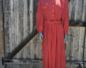 Vintage Women's Red Maxi Dress Size 12
