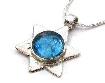 Roman Glass Jewelry, Blue Roman Glass Magen David Pendant, 925 Silver Star of David, Roman Glass Pendant, Israel Jewelry, Judaica Jewelry