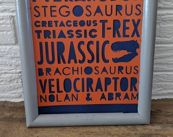 Personalized Dinosaur Word Collage/Dinosaur Party Decorations