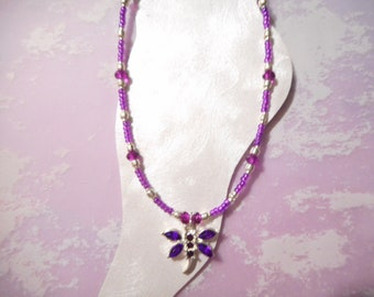 Purple Dragonfly Ankle Bracelet
