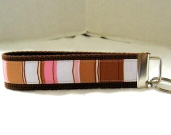 Stripes Key Fob Brown Pink Keychain Wristlet Key Fob