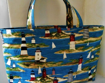 TOTE BAG LIGHTHOUSE Print Market Tote and Shopper Bag hand bag Made in Maine