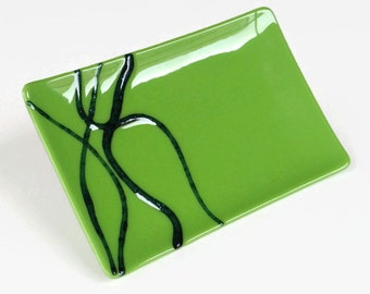 Lime Green Modern Fused Glass Dish Handcrafted Plate Trinket Midnight Blue Boxed