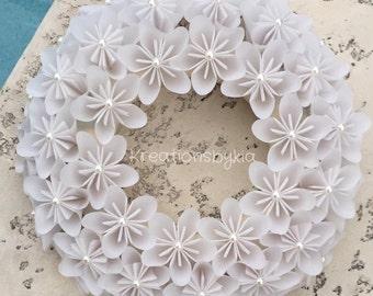 Origami paper flower wreath kusudama paper flower wreath origami paper flower wreath wedding decorations origami paper flowers kusudama paper mightylinksfo Choice Image