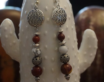 Moukaite and genuine natural Magnesite earrings