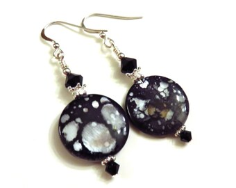 Spotted Shell Lentil Earrings, Swarovski Crystals, Shell Earrings, Black Earrings, Black Shell Earrings, Spotted Earrings, Dangle Earrings