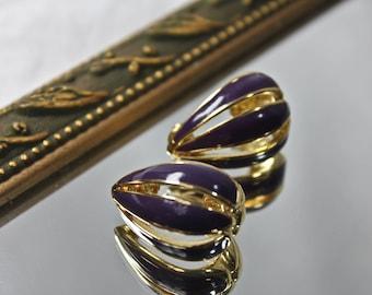 Vintage 1980s Trifari Earrings, c1980s, Vintage Trifari Gold and Purple Enamel Earrings, Retro '80s Fashion Earrings