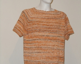 Knitted sleeved men's cotton sweater in XL