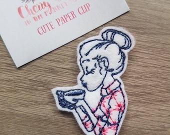 Girl in Shirt Hair Bun Winter Warmer Cup of Tea Coffee Girl Sketch Paper Clip