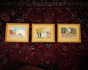 Set of 3 Faux Bamboo Framed Pagoda Asian Art Original Paintings Signed by Artist