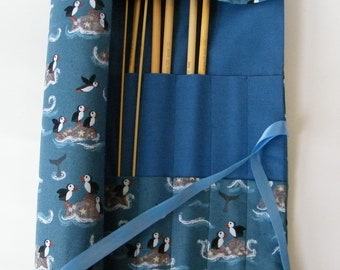 Straight Knitting needle organiser. Knitting needle roll. Puffin fabric.