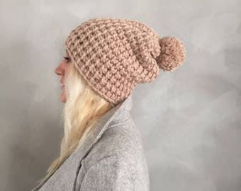 Chunky Hat - Chunky Pompom Hat - Pom pom Hat - Beige Beanie - Knit Hat - Chunky Beanie - Pom pom Beanie - Gift for Her - Christmas Gift