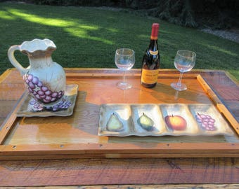 Serving Tray / Platter - 2 sided -  Reclaimed Wood & Hardware