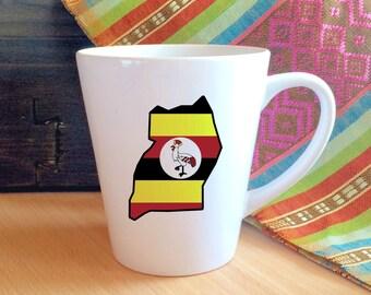 Uganda Silhouette Flag Porcelain Mug.  Africa, Adoption, Travel, Mission, Custom