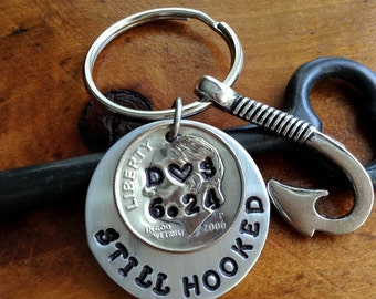 Couples Hooked On You/ 10 Year Anniversary Keychain/ Gift For Men / 2008/ Dating Wedding  /Hand Stamped Lucky Us/ 2008 Dime / Gift for Her