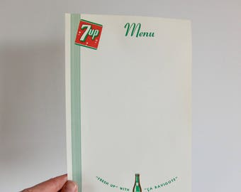 Vintage French English 7up soda bottle restaurant menu paper letterhead stationary
