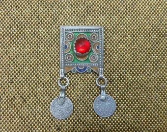Old Berber Silver Enaml Pendant with Coin from Morocco
