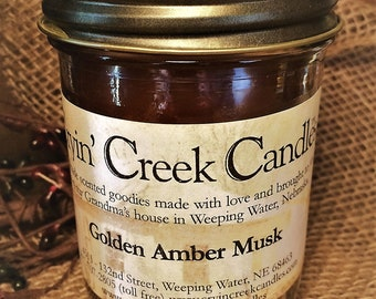 Golden Amber Musk Small Cotton Wick Candle