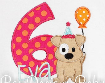 Dog Birthday Shirt, Dog with Balloon Birthday Shirt, Dog Party Shirt or Bodysuit, Girl Birthday Shirt, Puppy Birthday, Second Birthday