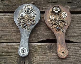pocket hand mirror - steampunk - octopus