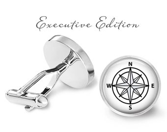Compass Cufflinks - Nautical Compass Cuff Links (Pair) Lifetime Guarentee (S0962)
