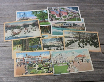 Instant postcard collection...set of 10 vintage postcards of New Jersey from 1930s. Vintage post cards, post cards, ephemera, collectibles