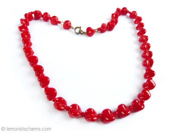 Vintage Red Glass Heart Beaded Necklace, Jewelry 1980s, Short Choker, Retro Style 15 inches