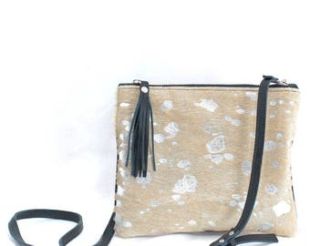 Cowhide Purse, Leather Cross Body Bag - Clutch with Tassel - Black Leather with Metallic Silver Tan Cowhide Fur