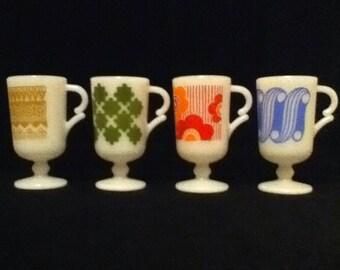 mugs milk glass retro pedestal mugs