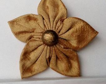 Hair Clip Gold Silk Fabric Flower Kanzashi