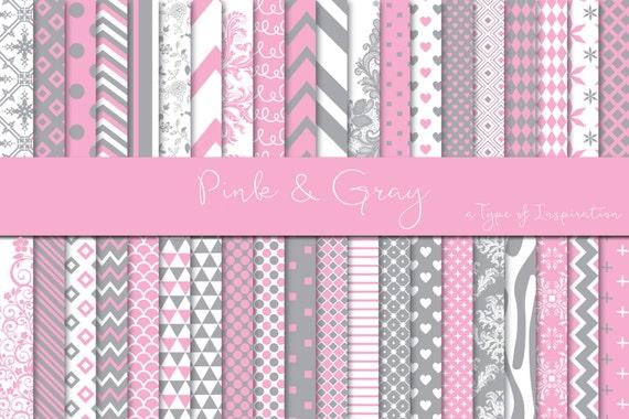 Pink And Gray Digital Paper Pack Digital Paper Scrapbook Paper