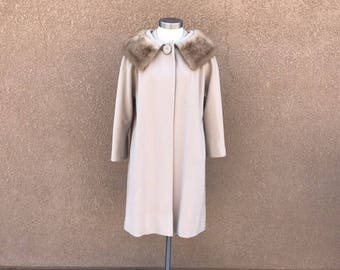 1960's Vintage Beige Coat With Mink Collar ~ Desmond's Of Southern California ~ With Thick Silk Lining, Pockets ~ Great Quality & Condition