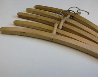 5 Wooden Clothes Hangers. Set of Clothes Wooden Hangers. Soviet Hangers. Vintage Wooden Hangers. Rustic Hangers. Vintage Closet Organizing