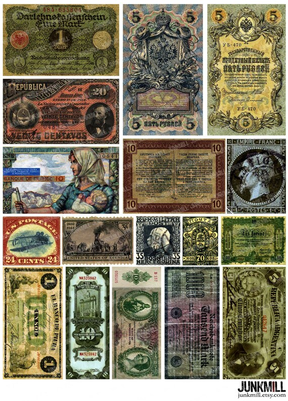 CURRENCY Digital Printable Collage Sheet Old Money