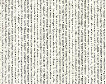 Handmade - Text Print Black Cream by Bonnie and Camille for Moda, 1/2 yard, 55147 17