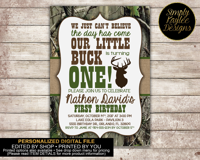 Little Buck First Birthday Party Invitation