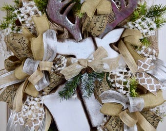 White Reindeer Oval Burlap Wreath with Pine Branches and Pine Cones; White Silver Beige Winter Holiday Wreath; Christmas Wreath Door Decor