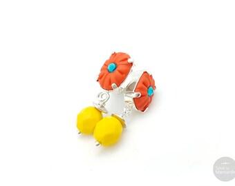 Boucles d'oreilles ovales orange coquelicot