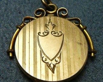 Victorian Locket Gold Filled Blank Monogram Crest Vintage Pendant