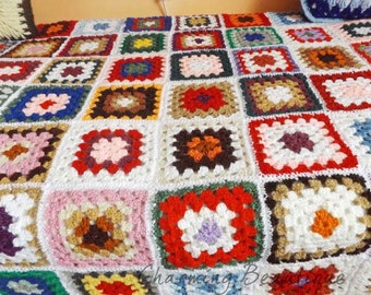 Crochet Afghan Crochet Blanket Crochet Granny Crochet Throw Granny Square Afghan Crochet Bedspread Throw Blanket Afghan Throw Vintage Afghan