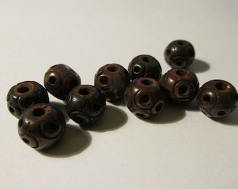Dark Brown Bone Beads for Craft and Jewelry Making, 8mm, Set of 10