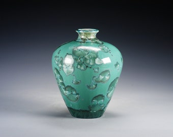 Ceramic Vase - Green - Crystalline Glaze on High-Fired Porcelain - Hand-Made Pottery - SHIPPING INCLUDED  - #B-5090