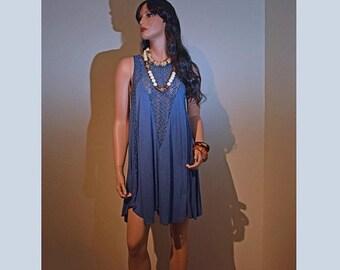 Memorial Day Sale Vintage BillaBong Blue Crochet Boho Dress or Swimsuit Cover up - Size S/P