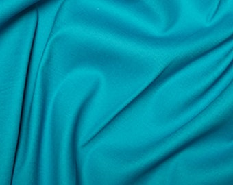 Cotton Sateen Solid Turquoise Fabric