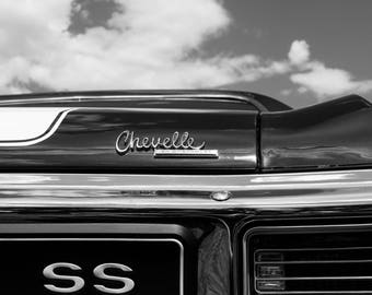 1970 Chevelle - Chevrolet Photography - Black and White Car - Auto Photography - Chevrolet Chevelle - Classic Car Photo - Mounted Print