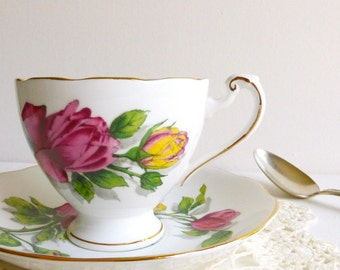 Vintage Roslyn 'Shadow Rose' Teacup & Saucer, Red/Yellow Bone China, Made in England. Perfect for a Vintage Tea Party, Gift or Styling Prop