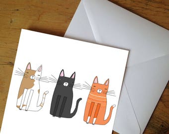 3 Cats Greetings Card - 3 Moody Kitty Cats 148x148