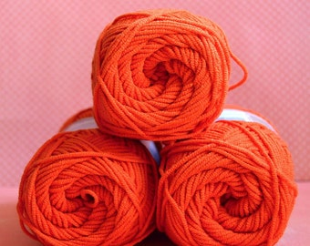Kacenka - soft cotton/acrylic yarn for crochet and knitting, Orange color, No. 2394, 1 ball/50 g, Producer NCT